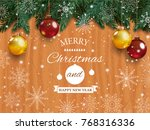 christmas card with detailed... | Shutterstock .eps vector #768316336