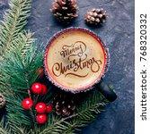 merry christmas hand lettering... | Shutterstock . vector #768320332