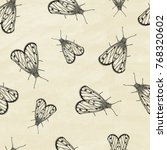 seamless pattern with butterfly.... | Shutterstock .eps vector #768320602