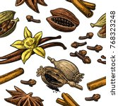 Seamless Pattern Set Of Spices. ...