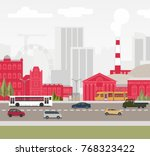 city with going transport | Shutterstock .eps vector #768323422