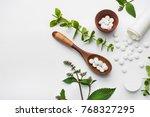 organic medical pills with... | Shutterstock . vector #768327295
