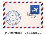 envelope with blue postmark of... | Shutterstock .eps vector #768330622