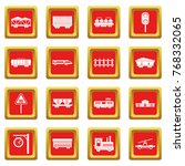 railway icons set in red color... | Shutterstock . vector #768332065
