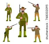 hunters with a gun in various... | Shutterstock .eps vector #768332095
