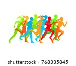 man   woman running. set of... | Shutterstock .eps vector #768335845