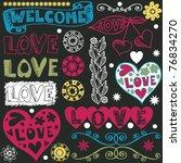 wedding doodles  hand drawn... | Shutterstock .eps vector #76834270
