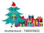 christmas tree character with... | Shutterstock .eps vector #768345832