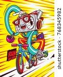 radio cartoon character bike | Shutterstock .eps vector #768345982
