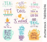 tea time lettering logo quote... | Shutterstock .eps vector #768346246