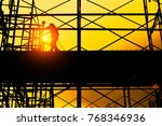 silhouette of construction... | Shutterstock . vector #768346936