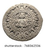 Small photo of Ancient stone aztec calendar. Object isolated on white background