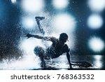 young man break dancing in club ... | Shutterstock . vector #768363532