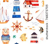 nautical watercolor seamless... | Shutterstock . vector #768373705