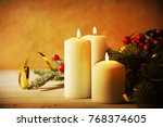christmas candles and ornaments ... | Shutterstock . vector #768374605