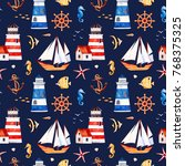 nautical watercolor seamless... | Shutterstock . vector #768375325