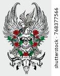 skull gun and rose graphic...   Shutterstock .eps vector #768377566