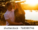 young loving married couple on... | Shutterstock . vector #768380746