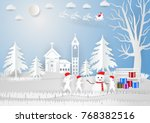 paper art style  winter season... | Shutterstock .eps vector #768382516