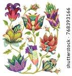 beautiful vector floral pattern ... | Shutterstock .eps vector #768393166