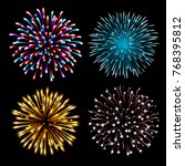 set of colorful fireworks. set... | Shutterstock .eps vector #768395812
