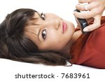 young brunette girl with mobile ... | Shutterstock . vector #7683961