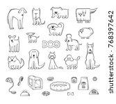 vector set of different dog... | Shutterstock .eps vector #768397642