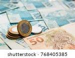 money from brazil. notes of... | Shutterstock . vector #768405385