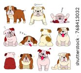 bulldog elements set with... | Shutterstock .eps vector #768413032