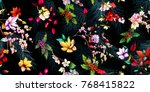 wide seamless floral background ... | Shutterstock .eps vector #768415822