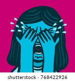 woman cries covering her face... | Shutterstock .eps vector #768422926