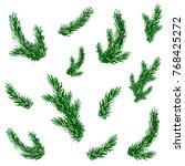 fir brashes set. christmas tree.... | Shutterstock .eps vector #768425272