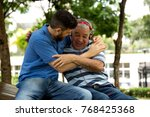 dad and son having fun in the... | Shutterstock . vector #768425368