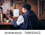 amateur carpenter with wooden...   Shutterstock . vector #768432412