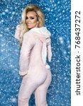 beautiful sexy blonde woman... | Shutterstock . vector #768437272