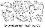 hand drawn chicken cuts  hen... | Shutterstock .eps vector #768440728
