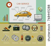 vector flat car service... | Shutterstock .eps vector #768445288