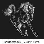 Stock vector horse pony running horse chalked horse 768447196