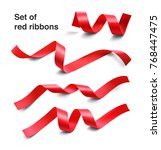 set of red ribbons on white... | Shutterstock .eps vector #768447475
