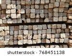 coffering wood regulary piled | Shutterstock . vector #768451138