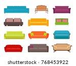 sofa colored vector set.... | Shutterstock .eps vector #768453922