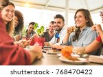 friends group drinking... | Shutterstock . vector #768470422