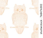 owl. seamless pattern. design... | Shutterstock .eps vector #768476302