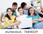 portrait of five teens sitting... | Shutterstock . vector #76848229