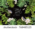 vector botanical horizontal... | Shutterstock .eps vector #768485125