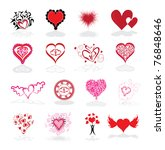 set of 16 abstract hearts ... | Shutterstock .eps vector #76848646