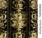 gold baroque striped seamless... | Shutterstock .eps vector #768486886