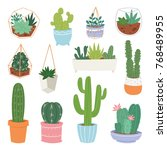 cactus vector cartoon botanical ... | Shutterstock .eps vector #768489955