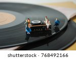 miniature record player on a... | Shutterstock . vector #768492166