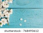 white spring cherry blossom on... | Shutterstock . vector #768493612